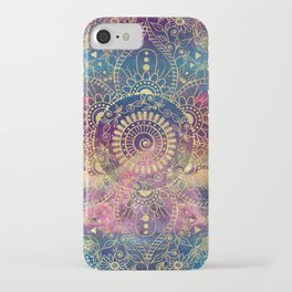 Gold watercolor and nebula mandala iPhone Case