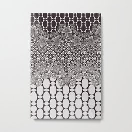 floral border with geo mix in black and white Metal Print
