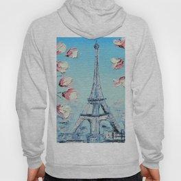 Paris Spring Cherry Blossoms, Eiffel Tower Art by Lisa Elley Hoody