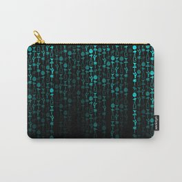 Bright Neon Aqua Blue Digital Cocktail Party Carry-All Pouch
