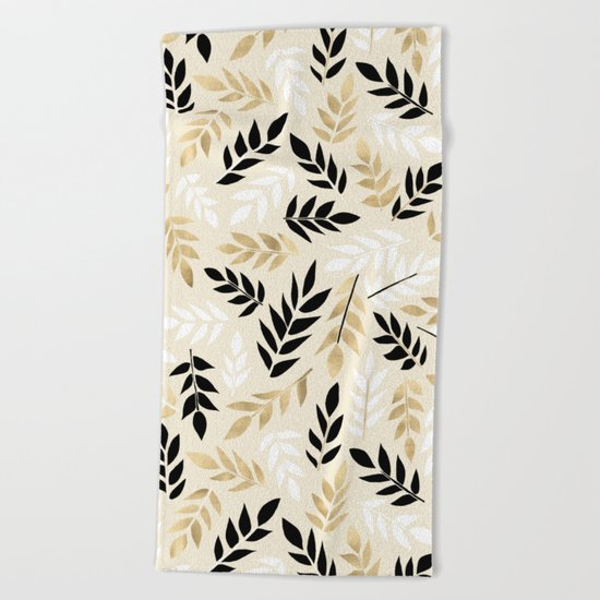 Black, White & Gold Fronds Beach Towel