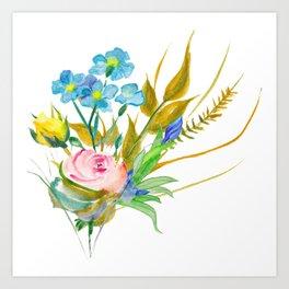 Beautiful Watercolor of Bouquet of Flowers Art Print
