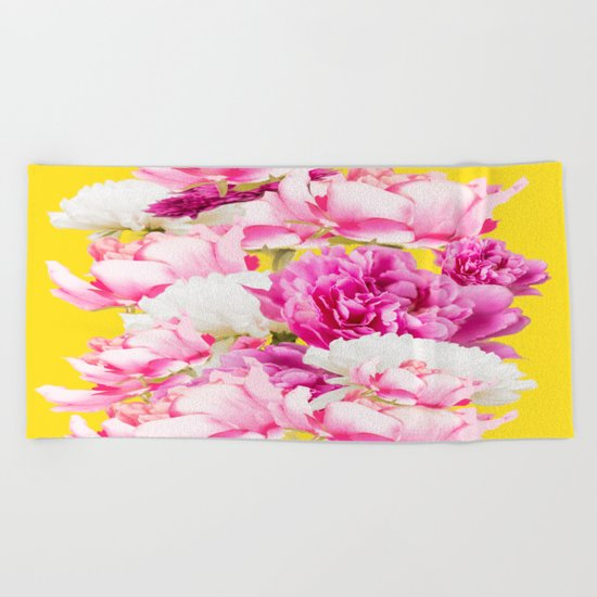 Beauties of nature - large pink flowers on a yellow background Beach Towel