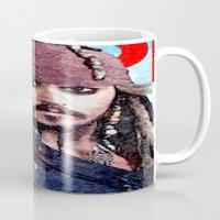 jack sparrow Mugs featuring Jack Sparrow by Brian Raggatt