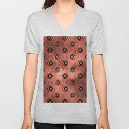 Pantone Living Coral, Bold Circle Rings & Wavy Line Pattern Unisex V-Neck