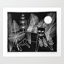Cat Block Print Art Print