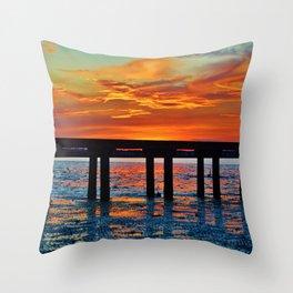 Winter Pier Silhouette Throw Pillow