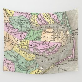 Outer Banks and Eastern North Carolina Map (1827) Wall Tapestry