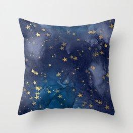 Gold stardust night sky Throw Pillow