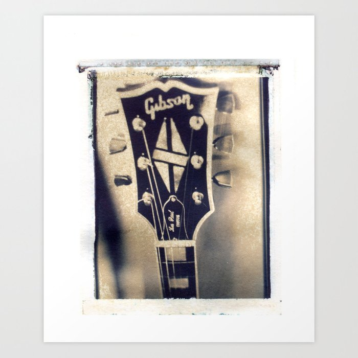 1968 Gibson Les Paul Custom Headstock - Polaroid Image Transfer Art Print  by beehivepro