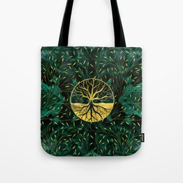 Golden Tree of Life on Malachite Tote Bag