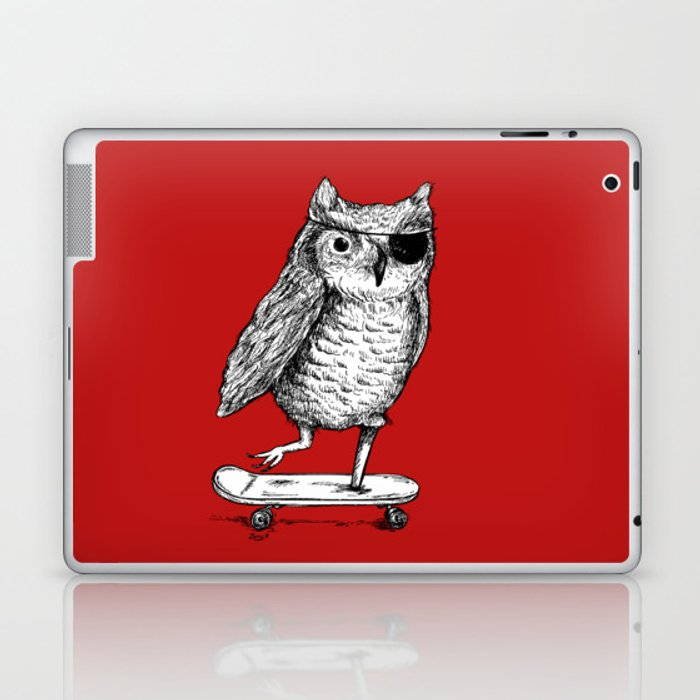 Ride On Owl_red Laptop & iPad Skin