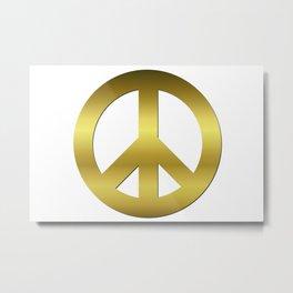 Golden CND Peace Symbol Metal Print