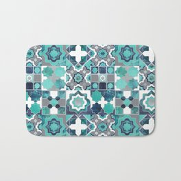 Spanish moroccan tiles inspiration // turquoise green silver lines Bath Mat