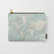World Map in Blue and Cream Carry-All Pouch