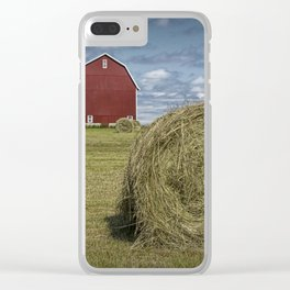 Hay Bales and Red Barn Clear iPhone Case