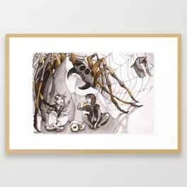 Snack and Spider Framed Art Print