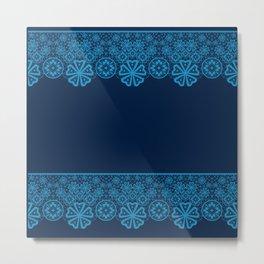 Retro .Vintage . Blue lace on a dark blue background . Metal Print