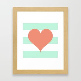 Large Heart on Stripes in Coral and Mint Framed Art Print