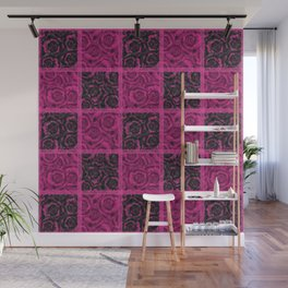 Raspberry patchwork Roses. Wall Mural