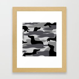 Grey Camo Weiner Dogg Framed Art Print