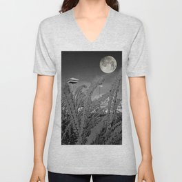 Snow crystals with moon Unisex V-Neck