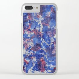 Blue and Red Watercolor on White Background Clear iPhone Case
