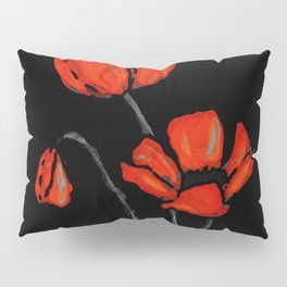 Red Poppies On Black by Sharon Cummings Pillow Sham