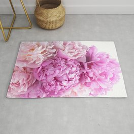 Pink Peonies Shabby Chic Cottage Peonies Rug