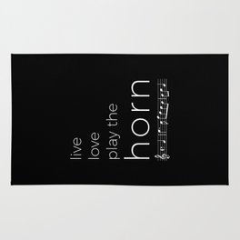 Live, love, play the horn (dark colors) Rug