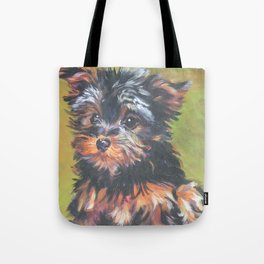 A realistic Yorkshire Terrier pup Portrait by L.A.Shepard fine art painting Tote Bag