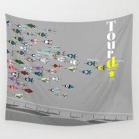 tour de france Wall Tapestries featuring Tour De France by Wyatt Design