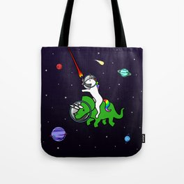 Unicorn Riding Triceratops In Space Tote Bag