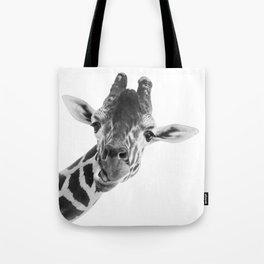 Giraffe Portrait // Grey Wild Animal Cute Zoo Safari Madagascar Wildlife Nursery Decor Ideas Tote Bag