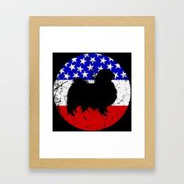 American Flag Japanese Chin Framed Art Print