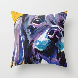 fun GSP German Shorthaired Pointer bright colorful Pop Art painting by Lea Throw Pillow