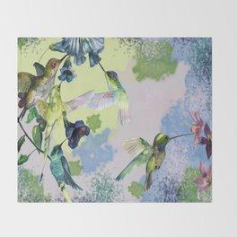 Hummingbirds in spring Throw Blanket