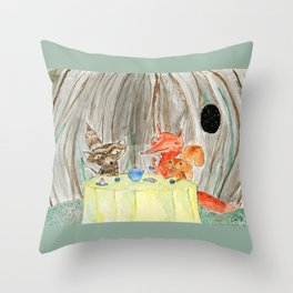 Raccoon, squirrel and fox Throw Pillow