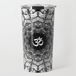 BLACK AND WHITE OM MANDALA Travel Mug