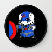 avenger Wall Clocks featuring Avenger Dog by Rocky Moose