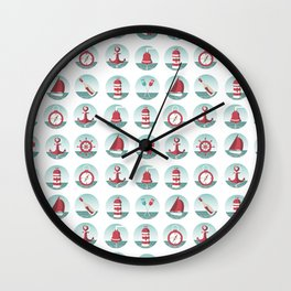 Nautical seamless pattern with sea elements Wall Clock