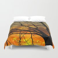 jewish Duvet Covers featuring Sunset Tree by Brown Eyed Lady