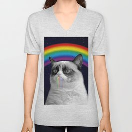 cat all over galaxy rainbow puke Space Crazy Cats Unisex V-Neck
