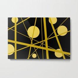 Mikado black gold Dots Design Metal Print