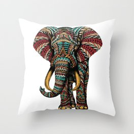 Ornate Elephant (Color Version) Throw Pillow