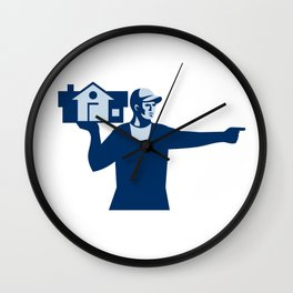House Remover Carrying House Retro Wall Clock