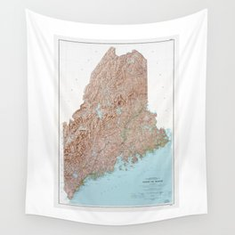State of Maine Map (1977) Wall Tapestry