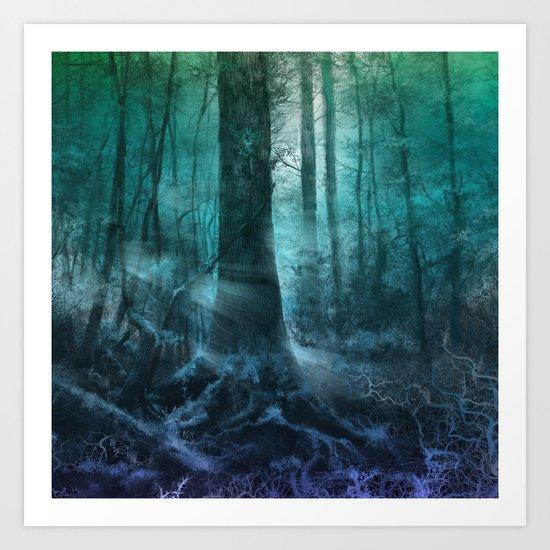 magical forest landscape Art Print