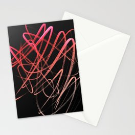 Salmon Pink Wavy Lines on Black Stationery Cards