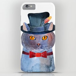 Lilac Cat In The Hat iPhone Case